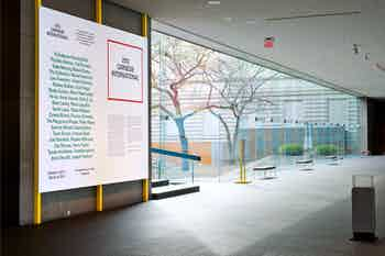 *2013 Carnegie International*, title wall and signage, Carnegie Museum of Art, Pittsburgh, 2013