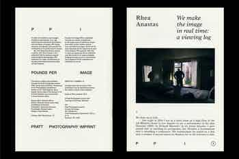 *PPI #1*, softcover with debossed image, 32 pages, 6.75 × 9.75 in., edited by Shannon Ebner, published by Pratt Photography Imprint and Dancing Foxes, 2019