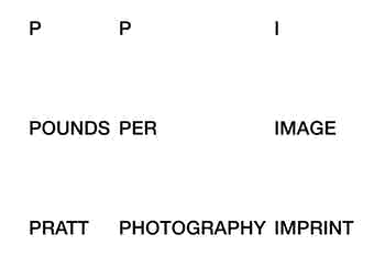 PPI / Pounds Per Image / Pratt Photography Imprint, identity, 2019